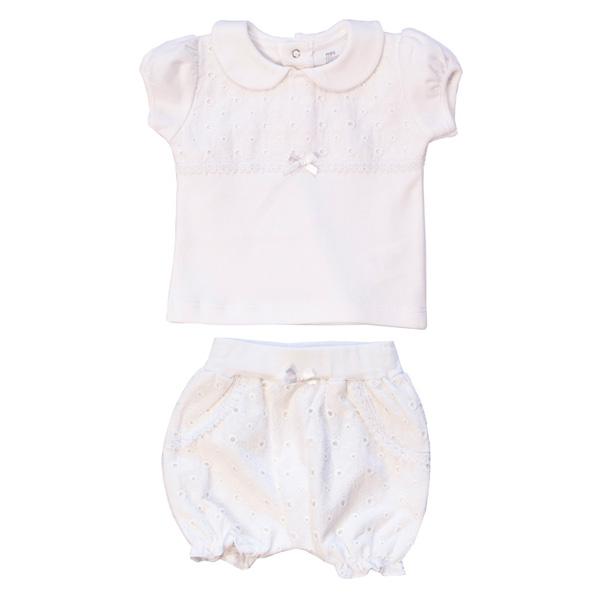 تی شرت و شلوارک نوزادی دخترانه پولونیکس طرح رز کد 21801-23