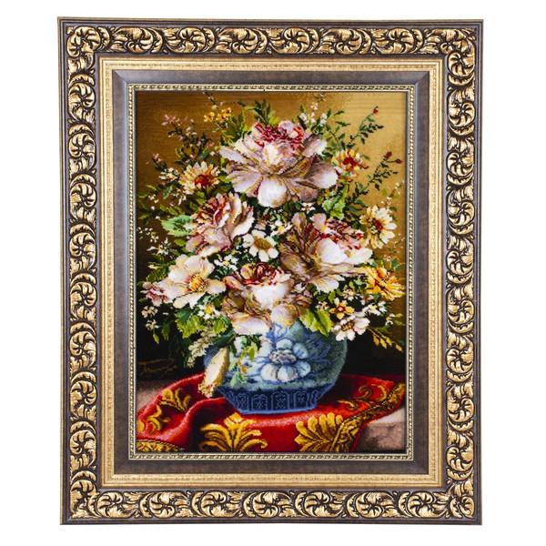 خرید                       تابلو فرش دستبافت طرح گل و گلدان