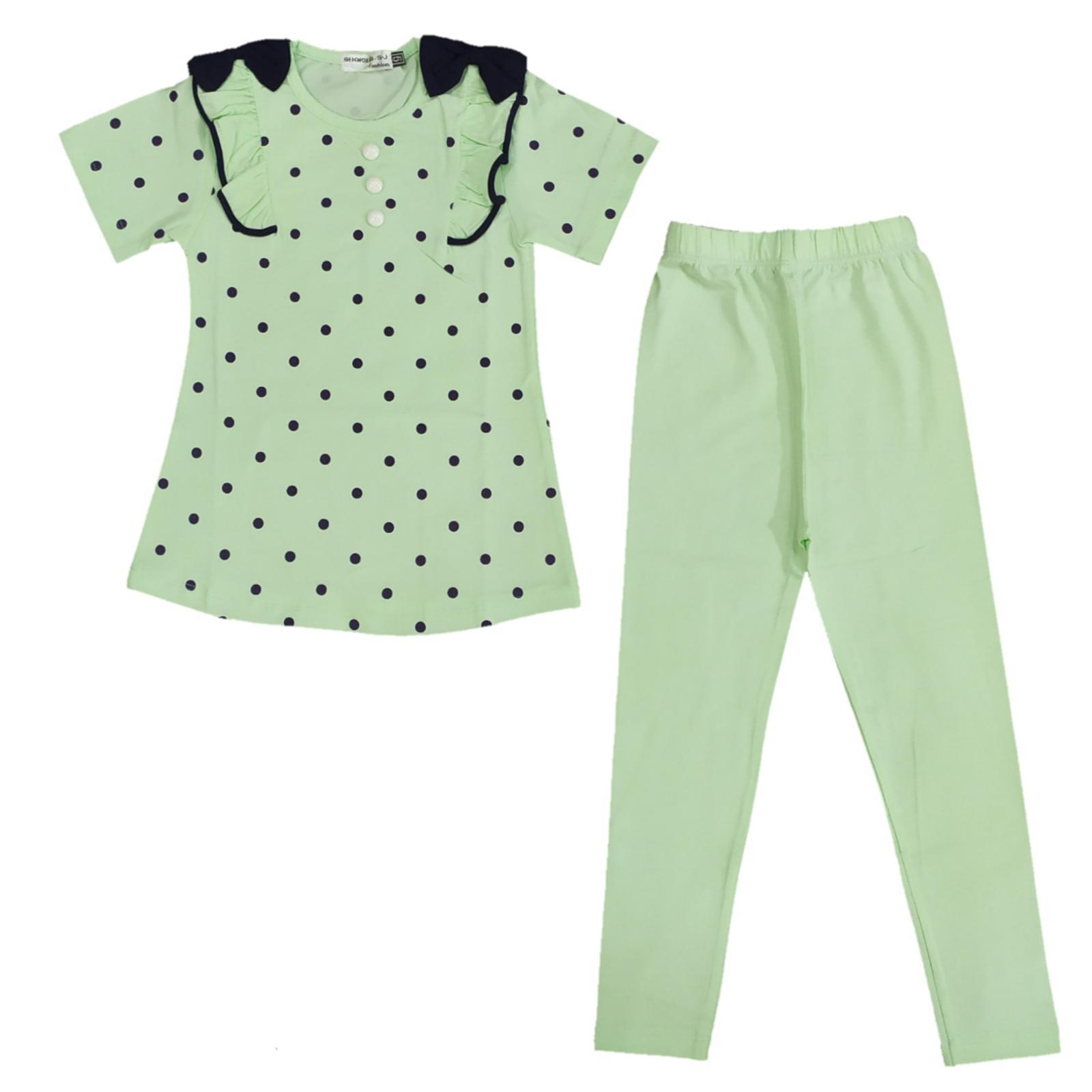 ست تی شرت و شلوار دخترانه کد B06 -  - 1