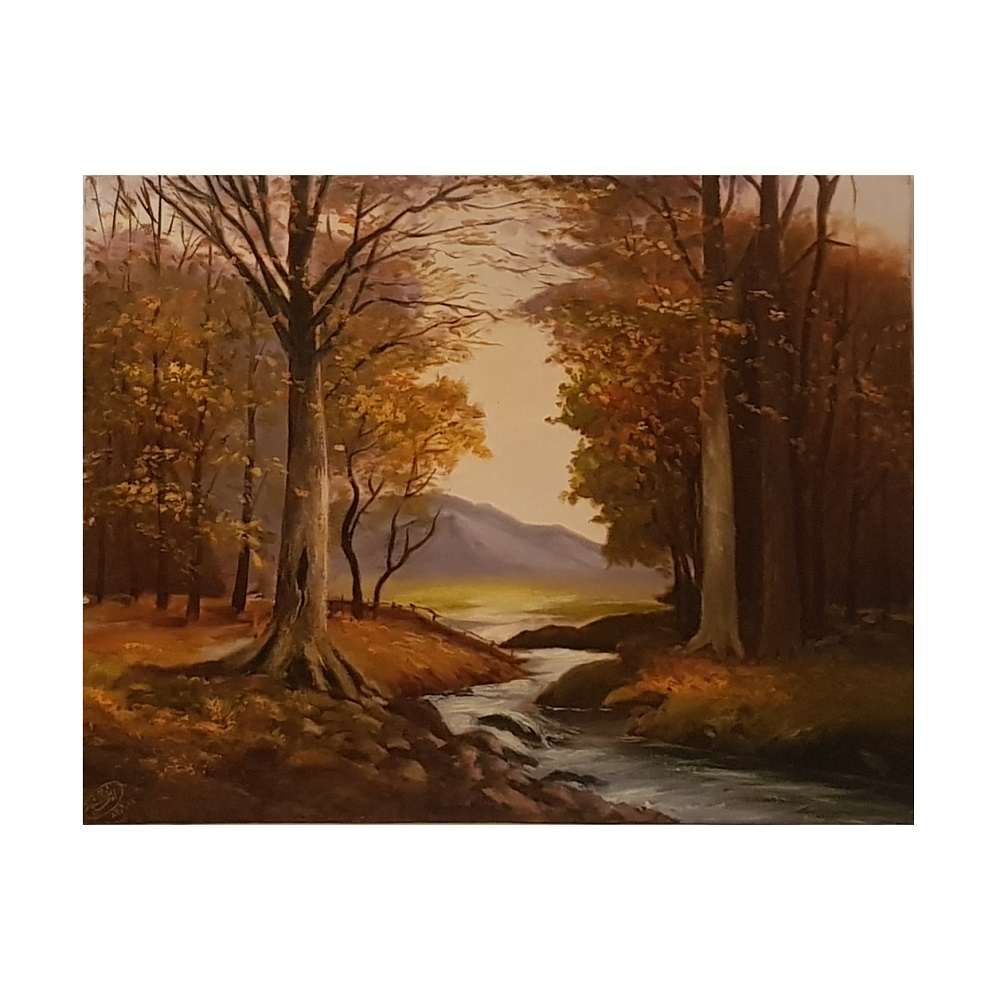 خرید                      تابلو نقاشی رنگ روغن طرح رودخانه در پاییز