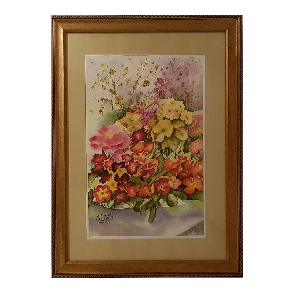 خرید                      تابلو نقاشی آبرنگ طرح باغ گلهای بنفشه