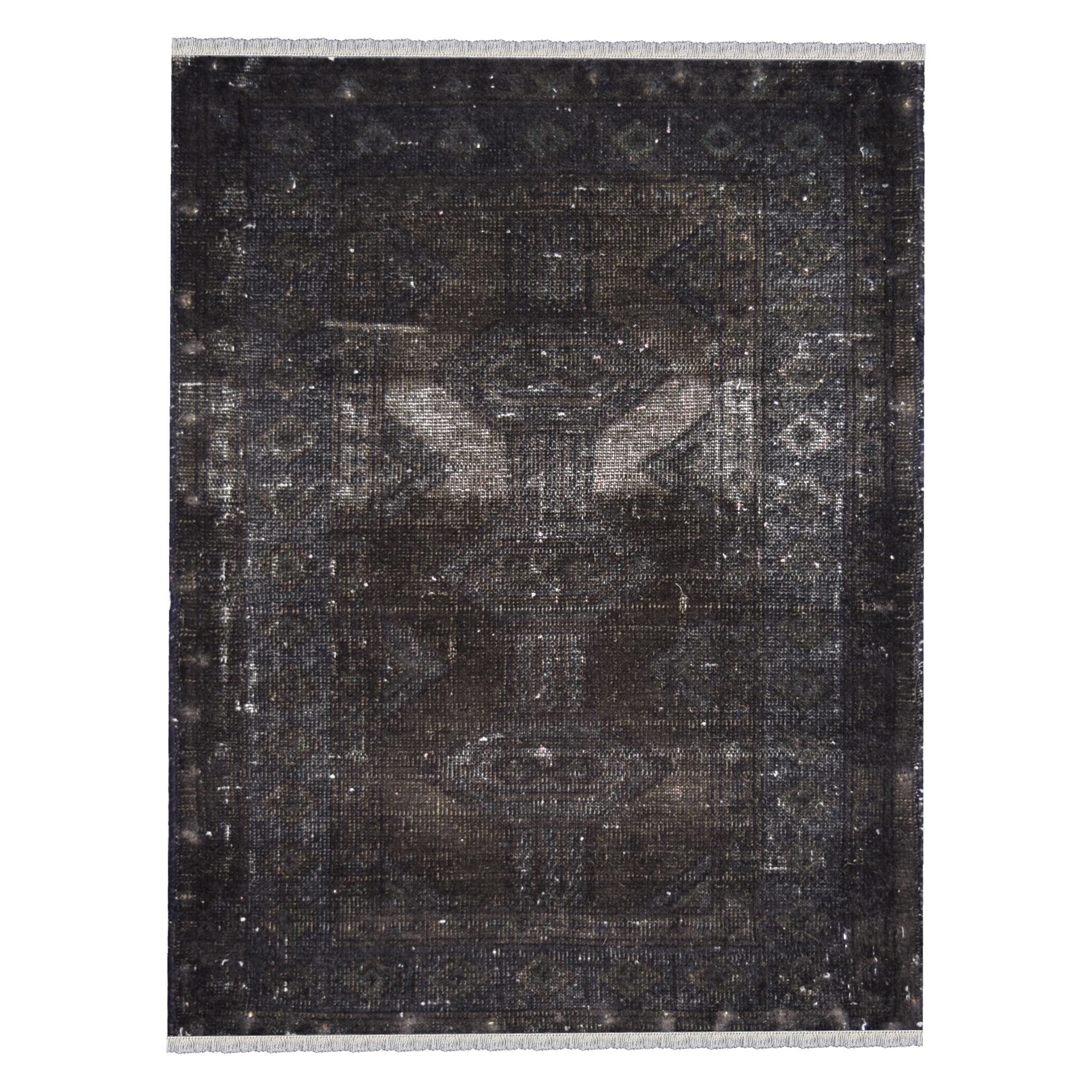 فرش دستبافت رنگ شده نیم متری طرح وینتج کد 15112