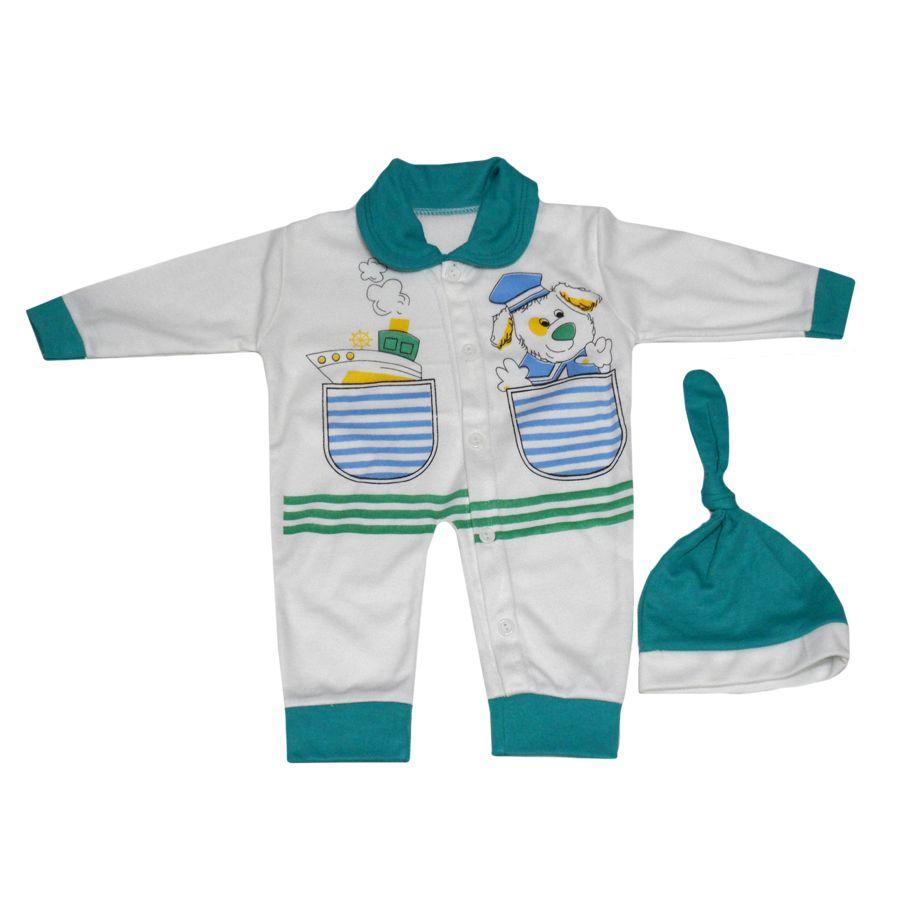 ست کلاه و سرهمی نوزاد کد P رنگ سبز -  - 1