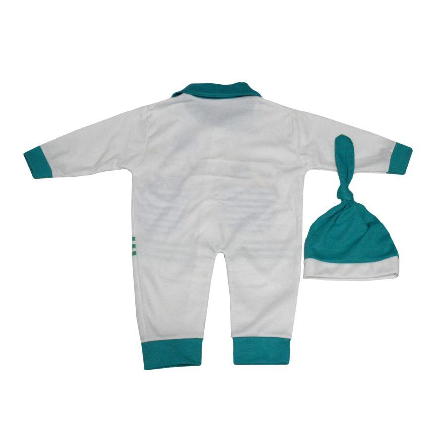 ست کلاه و سرهمی نوزاد کد P رنگ سبز -  - 2