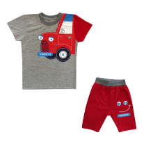 ست تی شرت و شلوارک پسرانه طرح کامیون کد 014