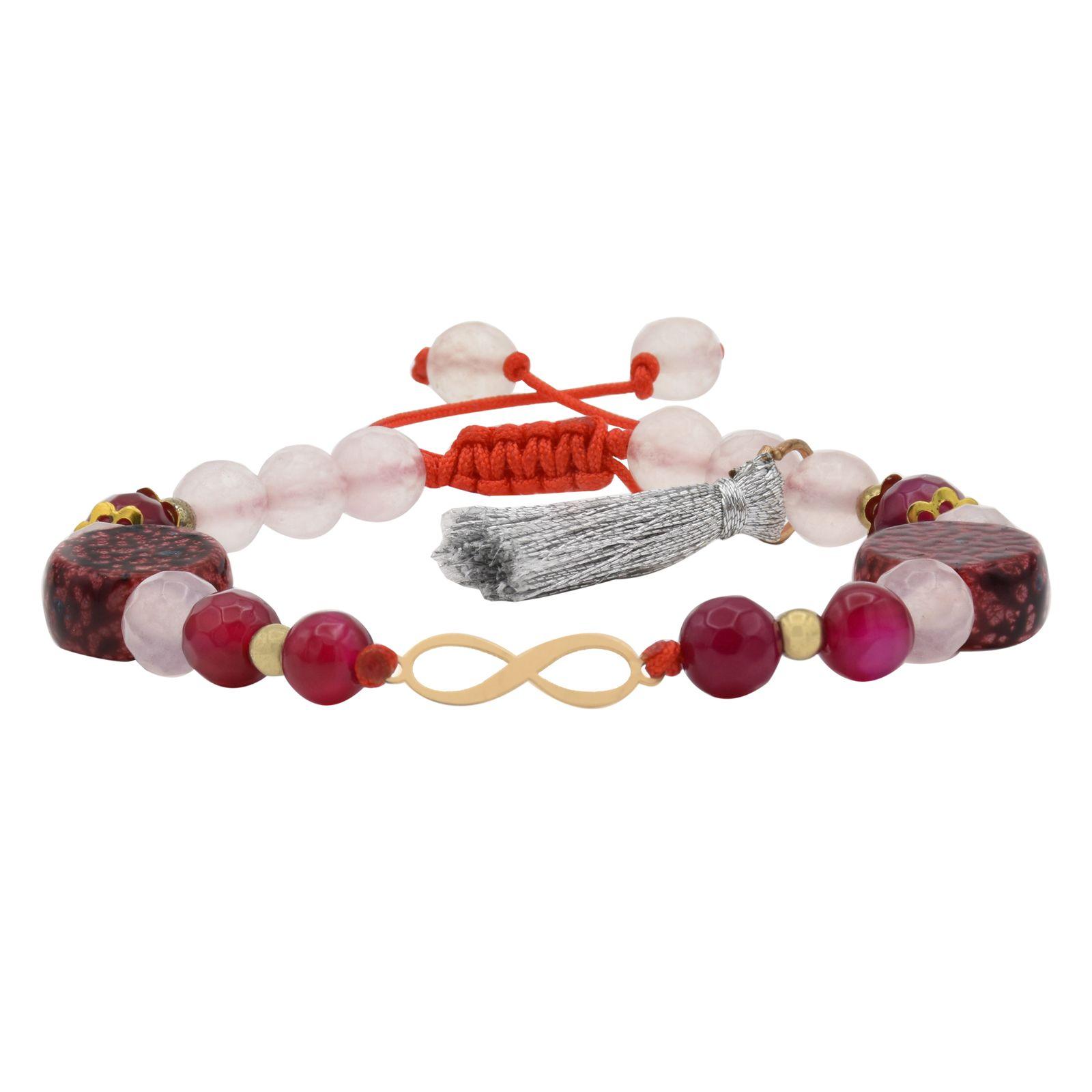دستبند طلا 18 عیار زنانه آمانژ طرح بینهایت کد 893D8912 -  - 2