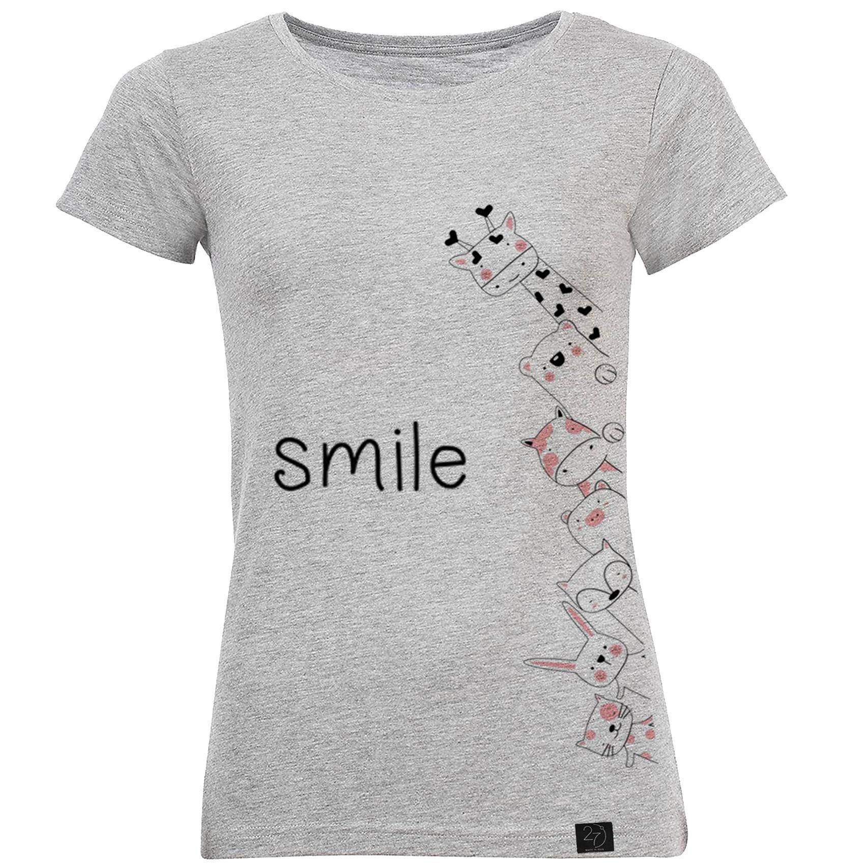 تیشرت زنانه 27 طرح SMILE کد M214