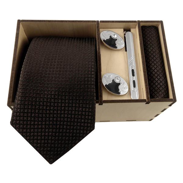 ست کراوات و دستمال جیب و دکمه سر دست مردانه کد 402
