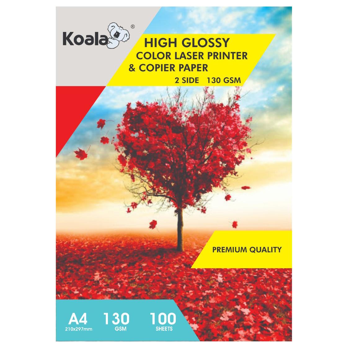 کاغذ گلاسه کوالا مدل K130 سایز A4 بسته 100 عددی
