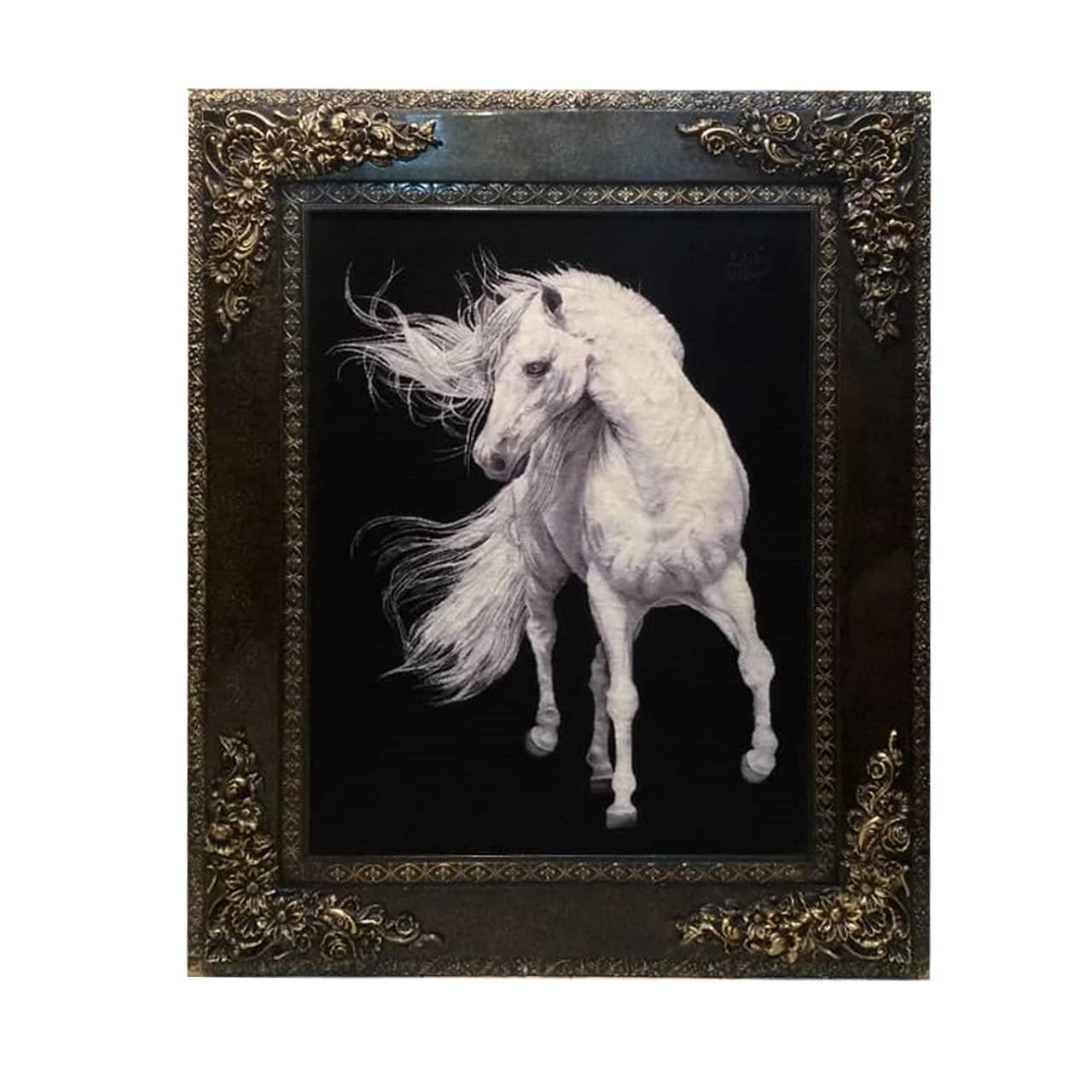 تابلو فرش دستبافت طرح اسب کد YM.166