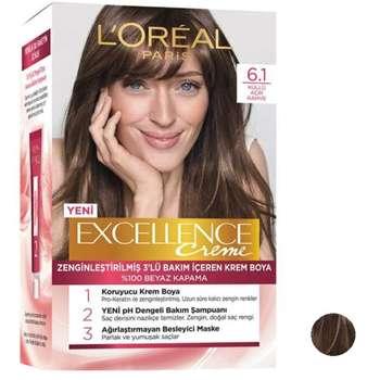 کیت رنگ مو لورآل مدل Excellence شماره 6.1 حجم 50 میلی لیتر بلوند تیره