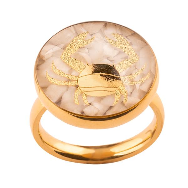 انگشتر طلا 24 عیار زنانه الون طرح نماد ماه تیر