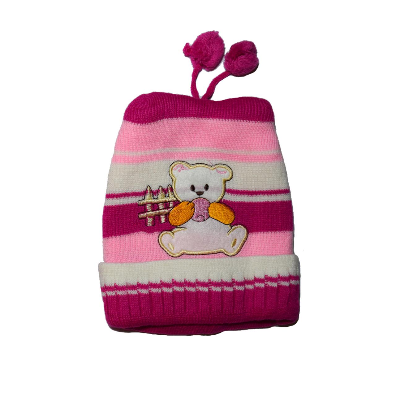 ست کلاه و شال گردن بافتنی دخترانه مدل خرسی کد 1023 -  - 1