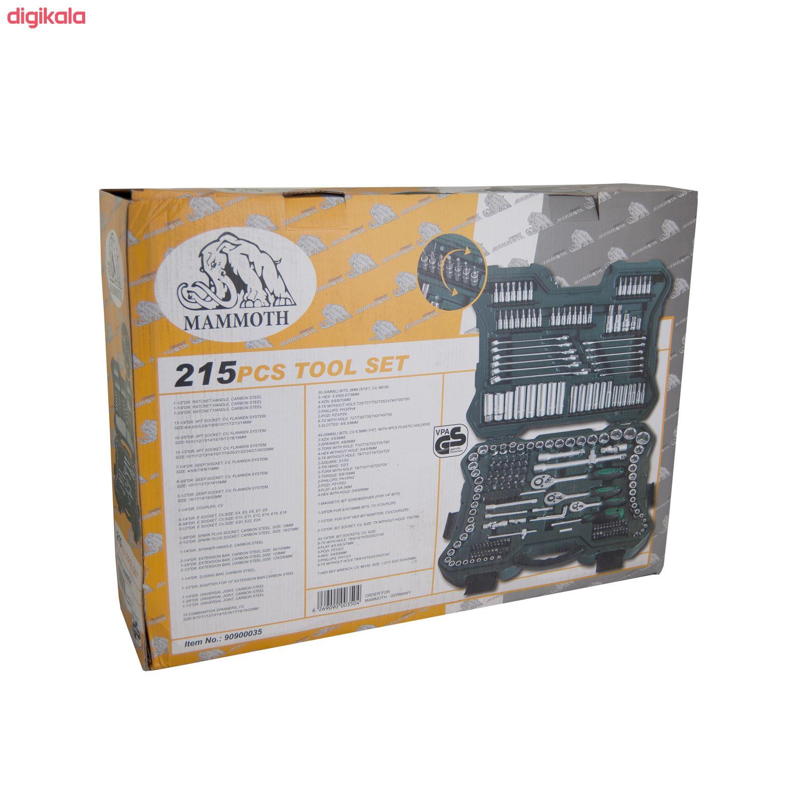 مجموعه 215 عددی آچار بکس و سری پیچ گوشتی ماموت مدل 90900035 main 1 23