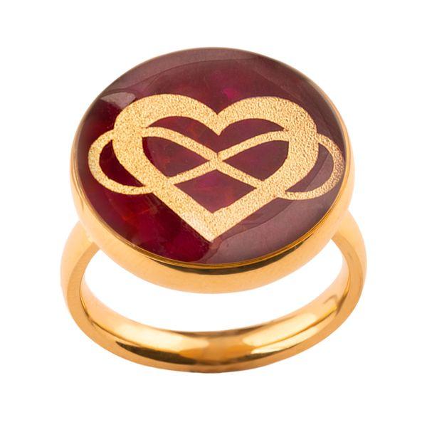 انگشتر طلا 24 عیار زنانه الون طرح قلب و بی نهایت