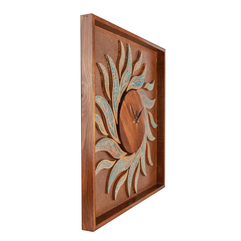 خرید                      ساعت دیواری چوبی طرح شعله کد 312028