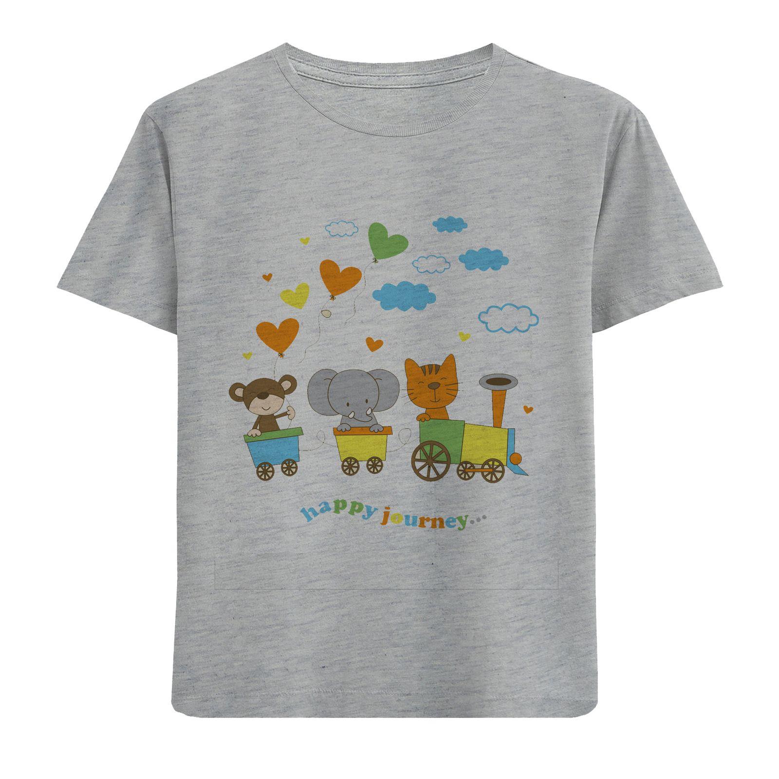 تی شرت آستین کوتاه دخترانه طرح قطار حیوانات کد F02 -  - 1