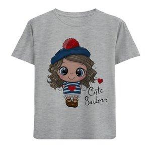 تی شرت آستین کوتاه دخترانه طرح دخترک کلاهدار کد F03