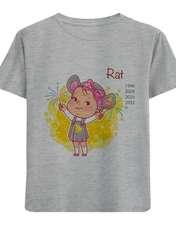 تی شرت آستین کوتاه دخترانه طرح دختر Rat کد F06 -  - 1