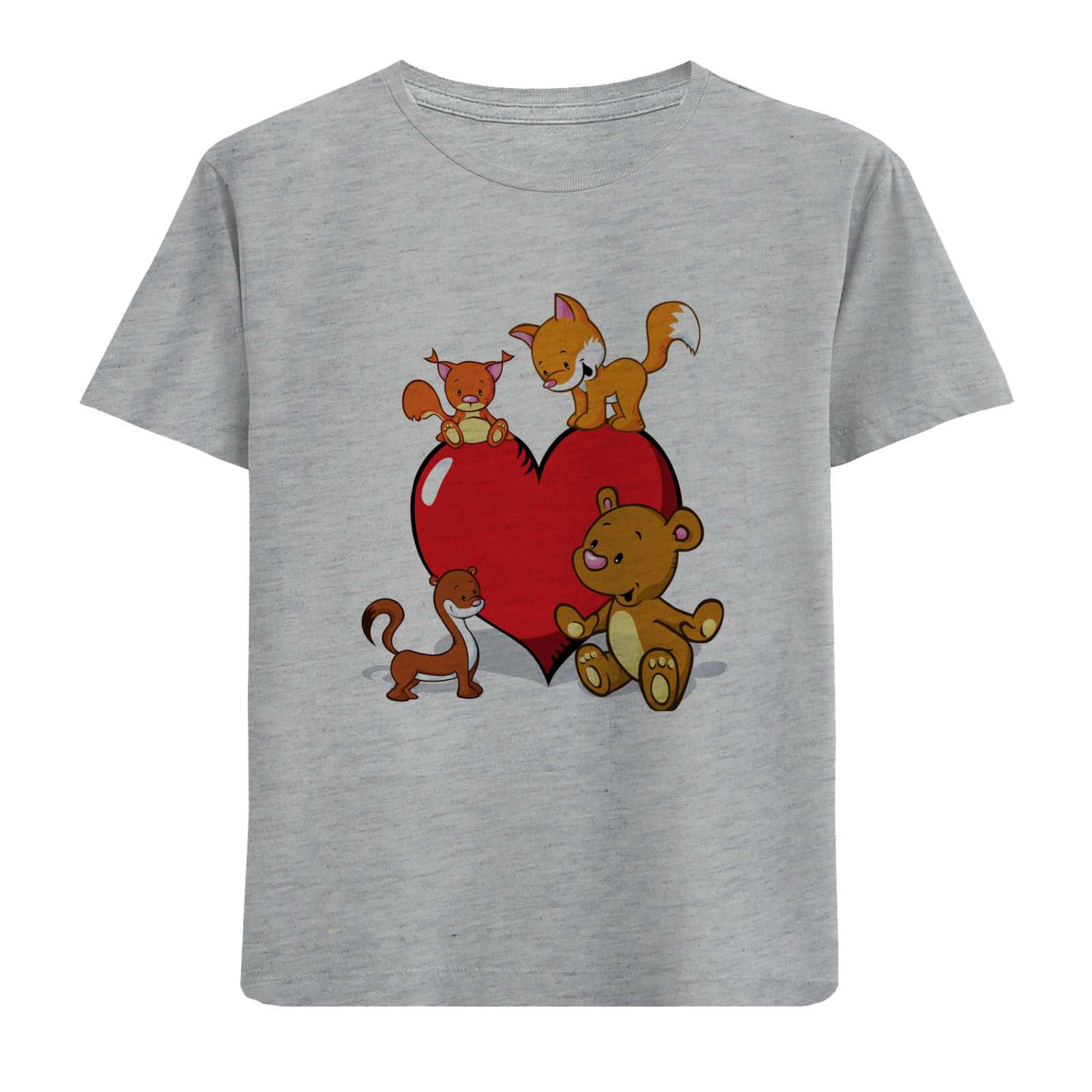 تی شرت آستین کوتاه دخترانه طرح قلب و حیوانات کد F07 -  - 1