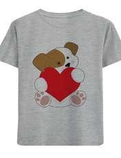تی شرت آستین کوتاه دخترانه طرح سگ و قلب کد F11 -  - 1
