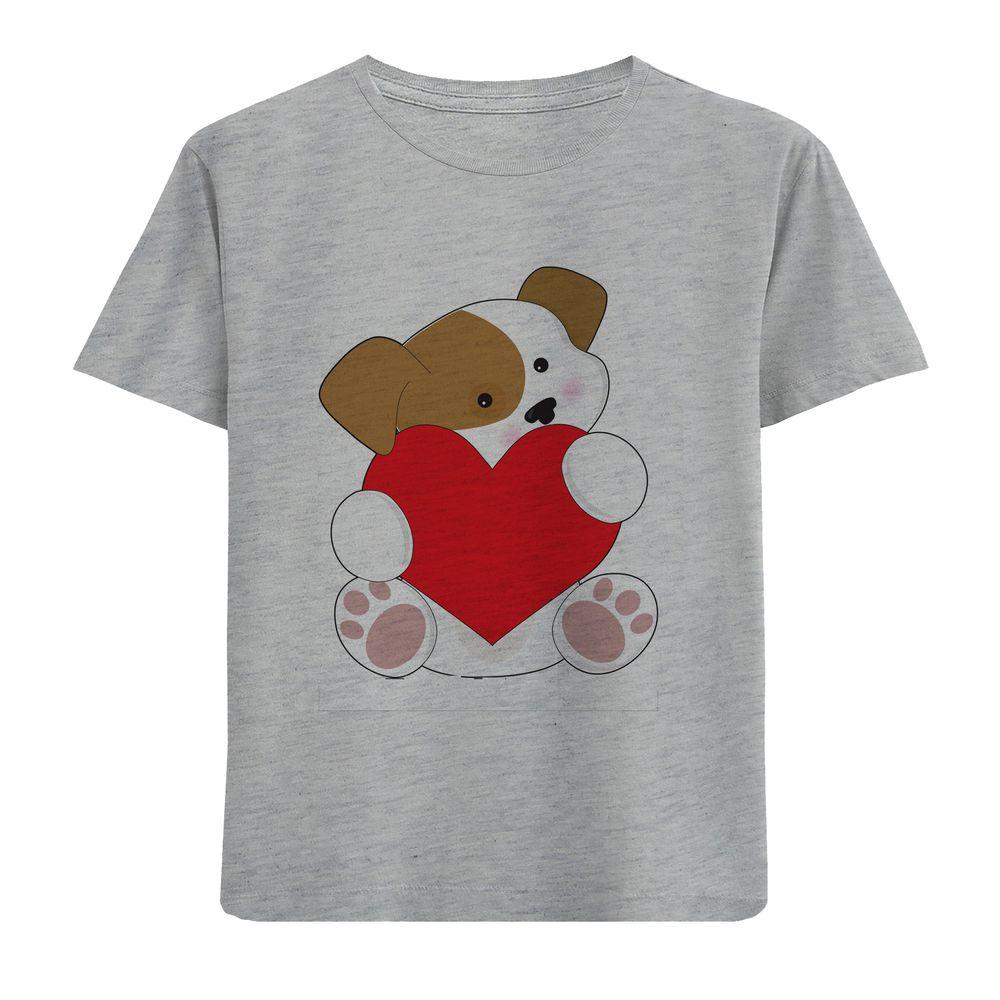 تصویر تی شرت آستین کوتاه دخترانه طرح سگ و قلب کد F11