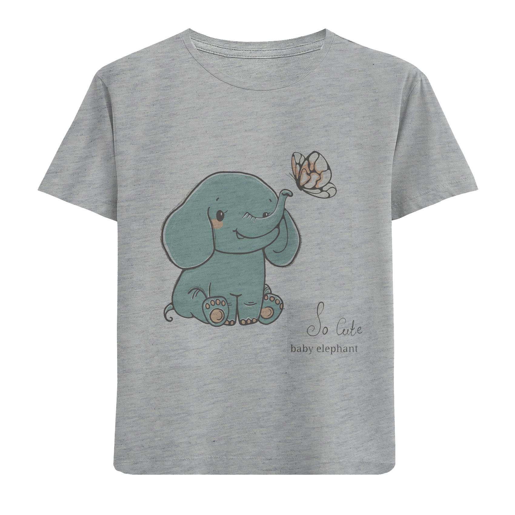 تی شرت آستین کوتاه دخترانه طرح فیل و پروانه کد F13 -  - 1