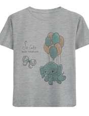 تی شرت آستین کوتاه دخترانه طرح فیل و بادکنک کد F14 -  - 1