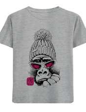 تی شرت آستین کوتاه پسرانه طرح میمون عینکی کد F04 -  - 1