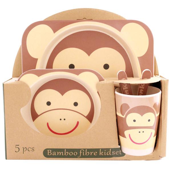 ظرف غذا 5 تکه کودک طرح میمون مدل m302