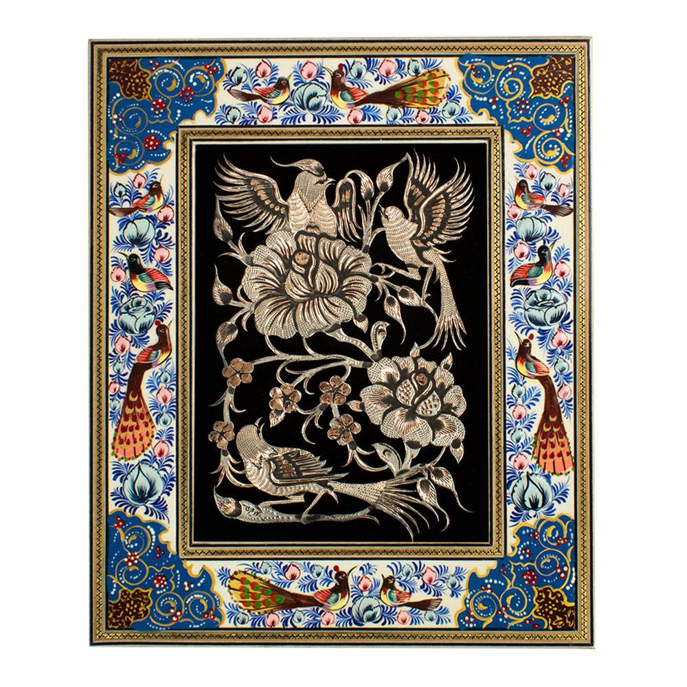 خرید                      تابلو قلمزنی طرح گل و مرغ کد 1824-3