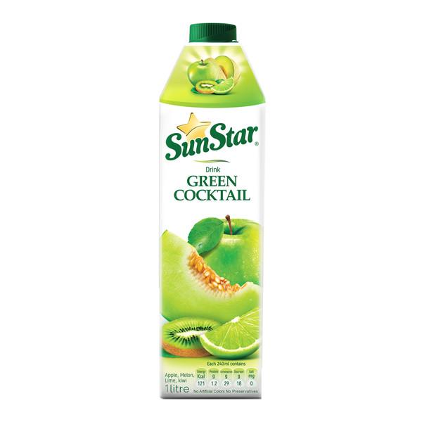 نوشیدنی مخلوط میوه های سبز سان استار حجم 1 لیتر