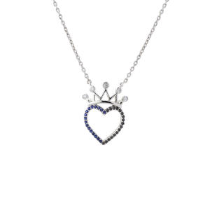 گردنبند نقره دخترانه طرح قلب و تاج مدل edn4500