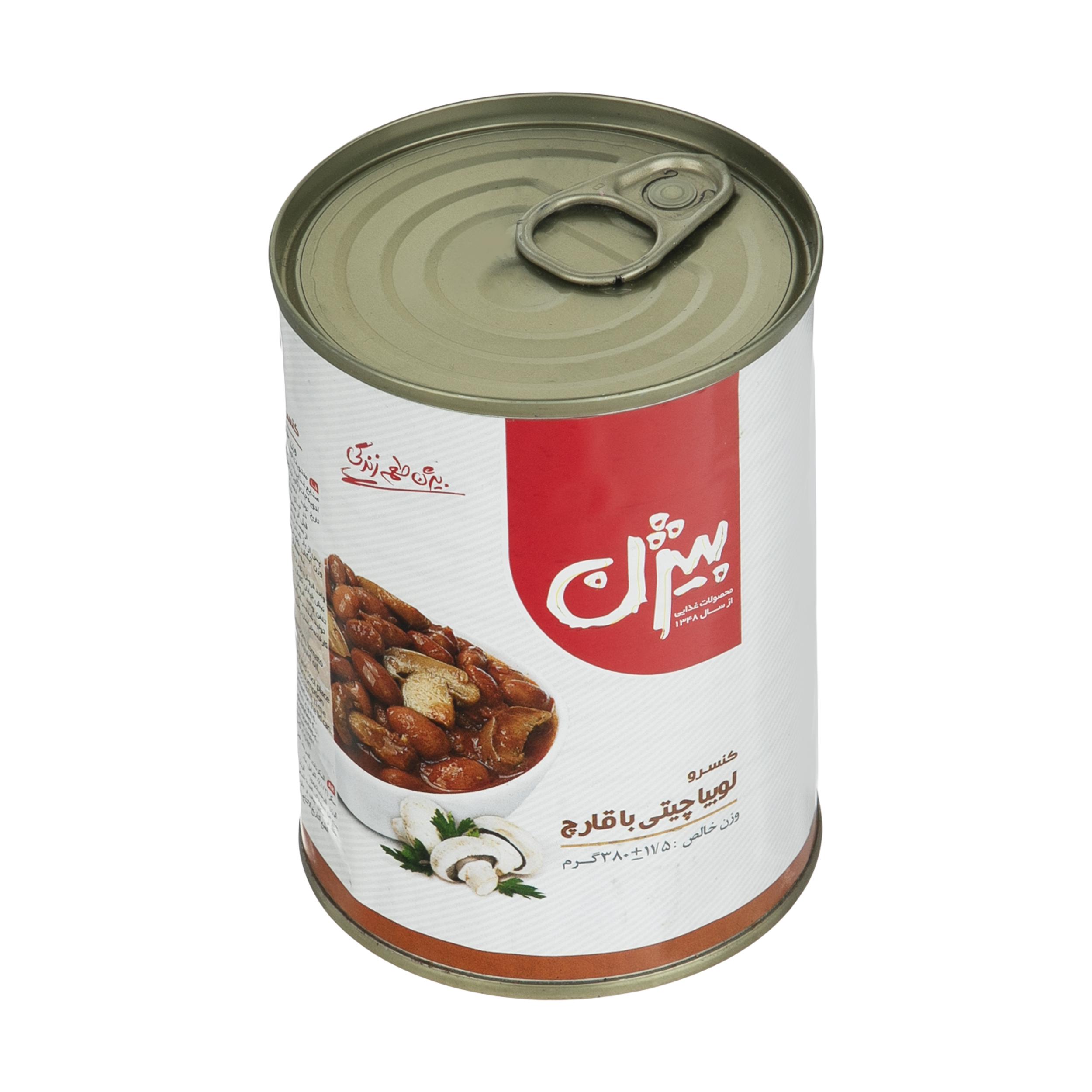 کنسرو لوبیا چیتی با قارچ بیژن - 380 گرم