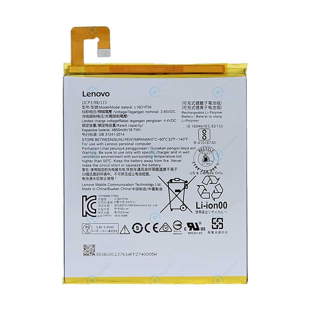باتری تبلت مدل L16D1P34 ظرفیت 4850 میلی آمپر ساعت مناسب برای تبلت لنوو  tab4 8