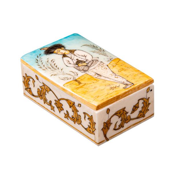 جعبه جواهرات استخوانی طرح بانوی صفوی کد4