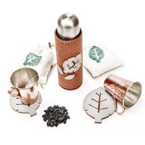 ست هدیه آرا هنر فاخر ایرانی مدل چام بسته فلاسک و لیوان مسی