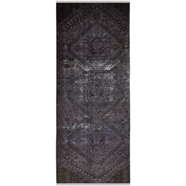 فرش دستبافت رنگ شده کناره طول سه متر طرح وینتج کد 13945