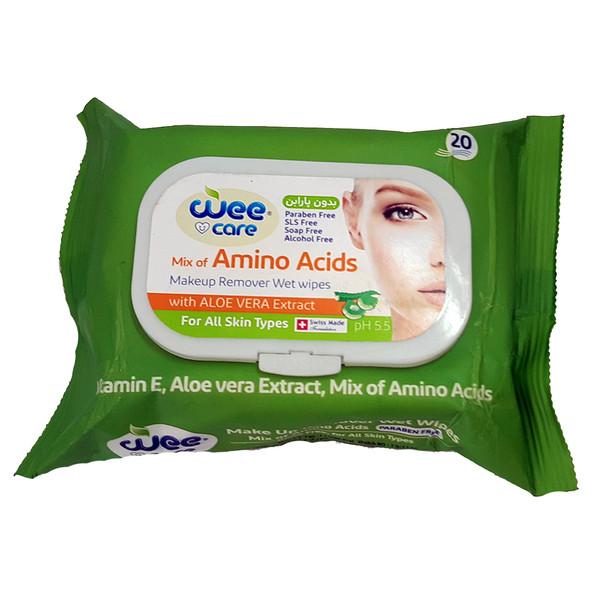 دستمال مرطوب وی کر مدل Mix Of Amino Acid بسته 20 عددی