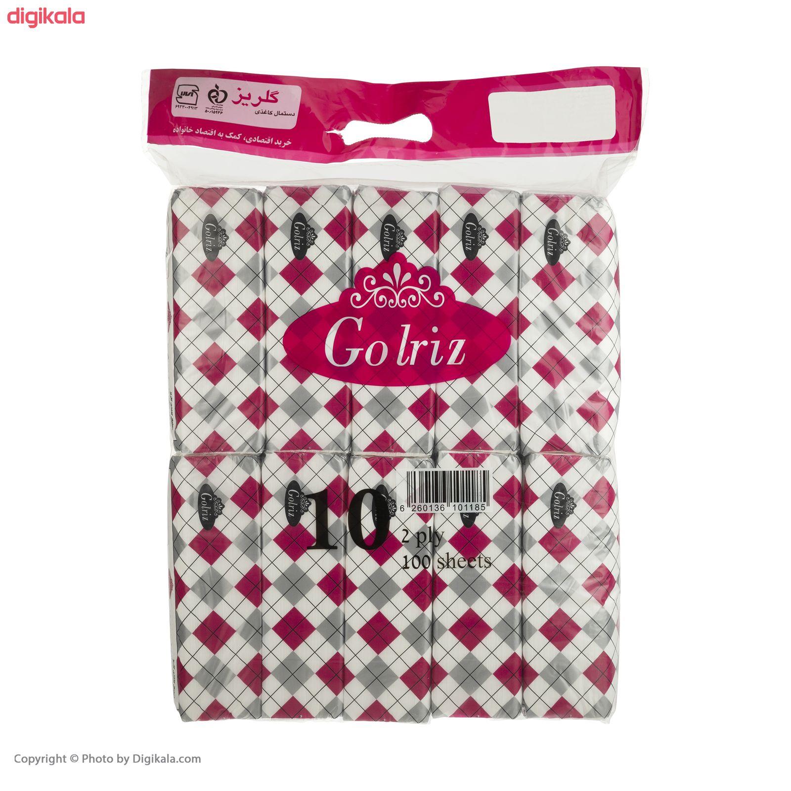 دستمال کاغذی 100 برگ گلریز مدل دياموند بسته 10 عددي  main 1 1