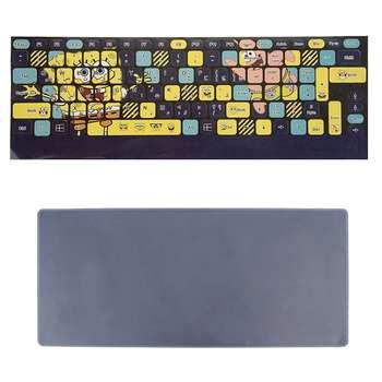 برچسب حروف فارسی کیبورد طرح باب اسفنجی به همراه محافظ کیبورد مدل 14-I مناسب برای لپ تاپ 14 اینچ