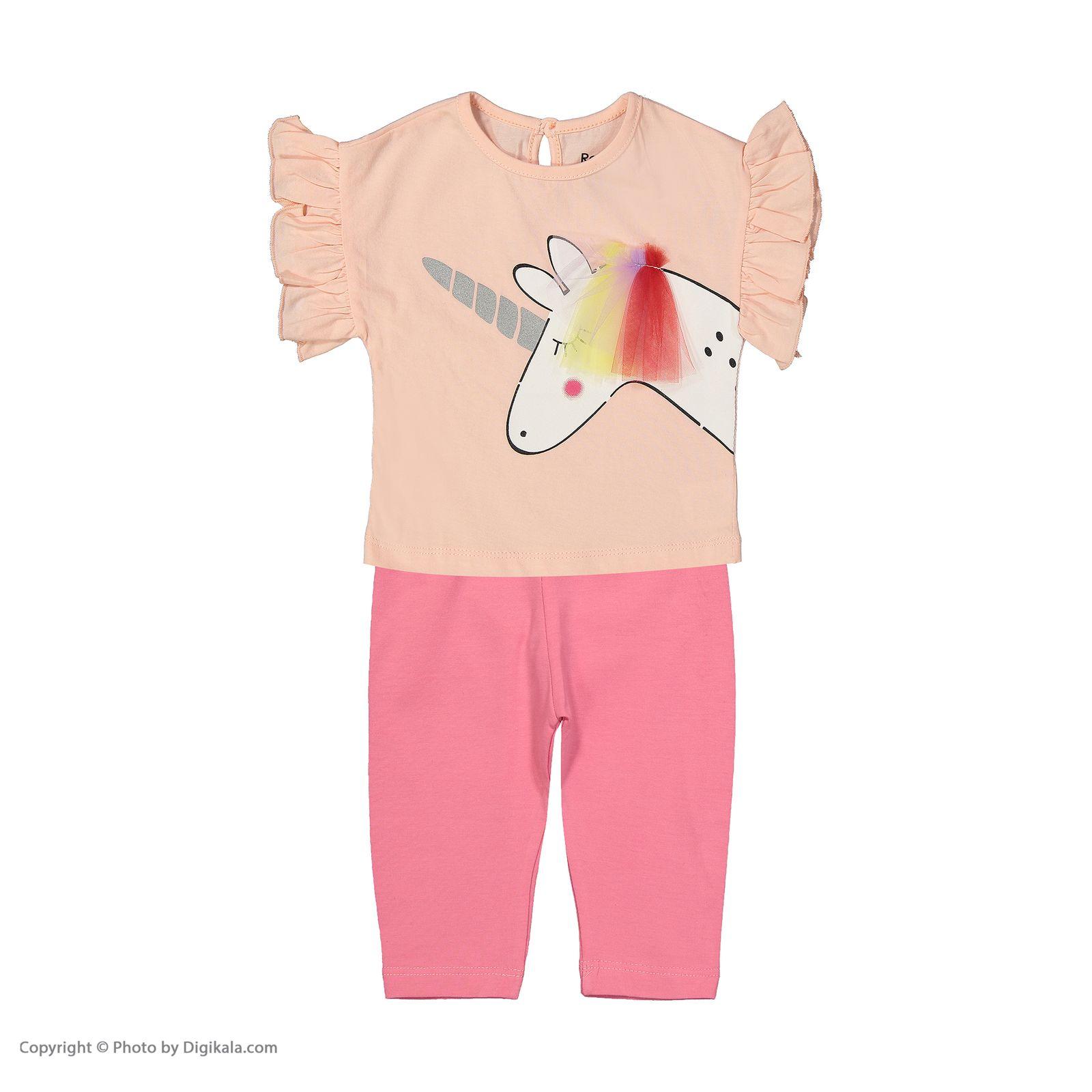 ست تی شرت و شلوار دخترانه رابو مدل 2051127-81 main 1 1