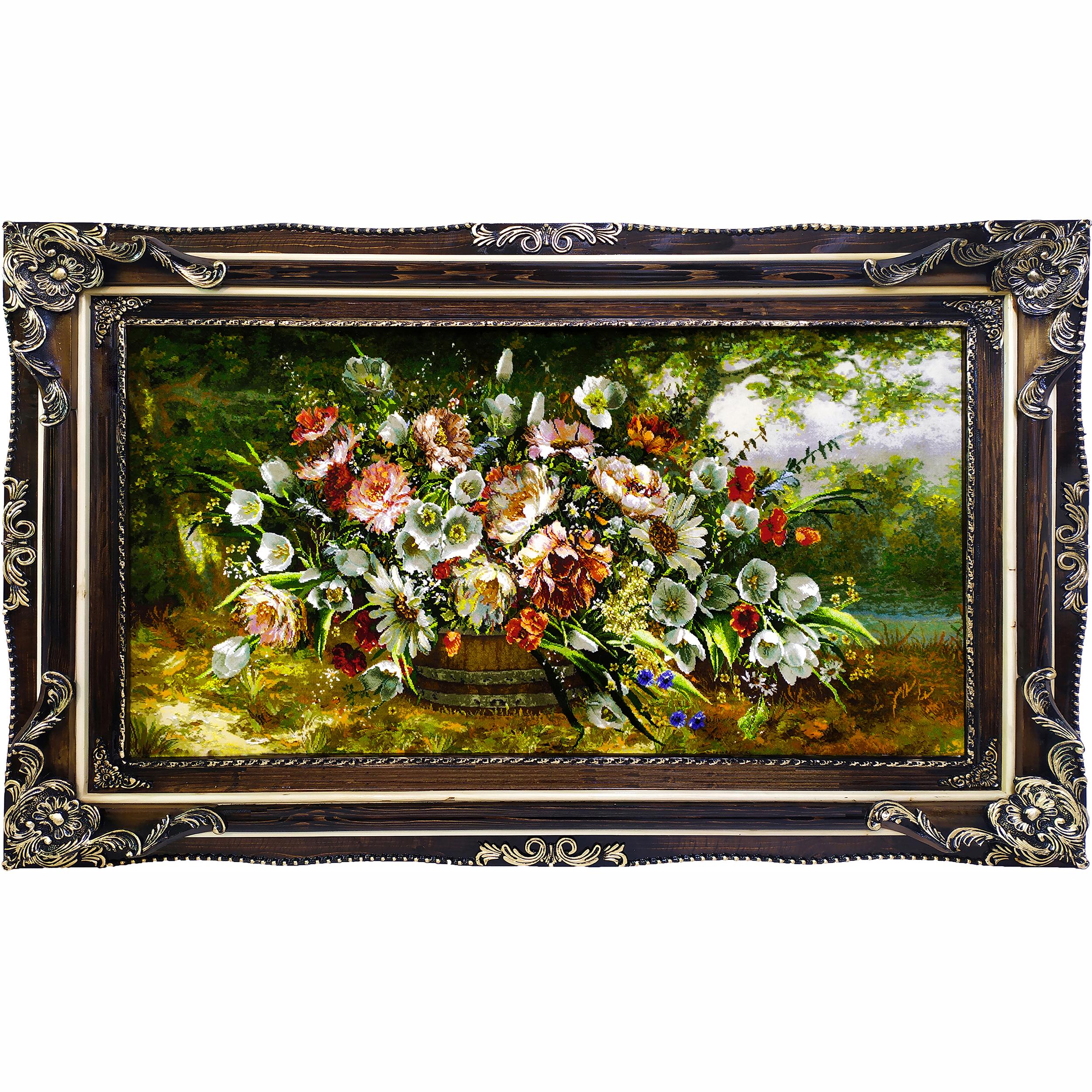 تابلو فرش دستبافت طرح گل و گلدان کد 1579
