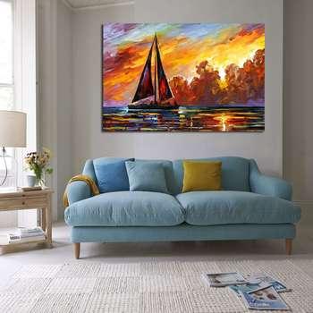 تابلو شاسی طرح قایق و دریا مدل 249