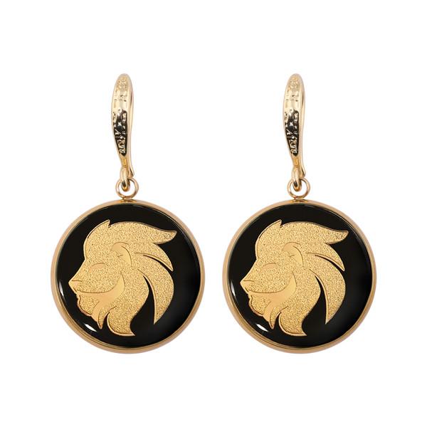 گوشواره طلا 24 عیار زنانه الون طرح نماد ماه مرداد
