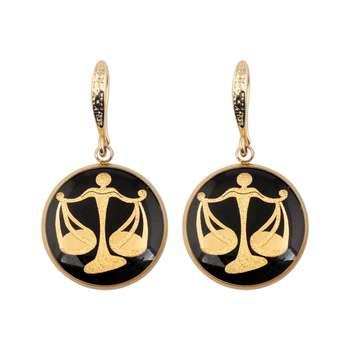 گوشواره طلا 24 عیار زنانه الون طرح نماد ماه مهر