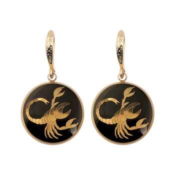 گوشواره طلا 24 عیار زنانه الون طرح  نماد ماه آبان