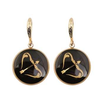 گوشواره طلا 24 عیار زنانه الون طرح نماد ماه آذر