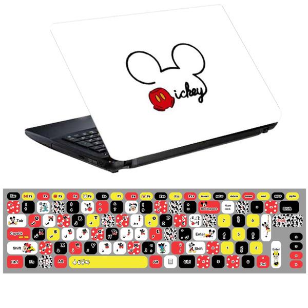 استیکر لپ تاپ طرح میکی موس کد 0219-99 مناسب برای لپ تاپ 15.6 اینچ به همراه برچسب حروف فارسی کیبورد