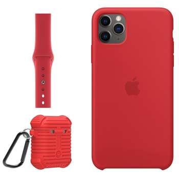 کاور مدل Sil-42-44 مناسب برای گوشی موبایل اپل IPhone 11 Pro Max به همراه کیس ایرپاد پرو و بند اپل واچ